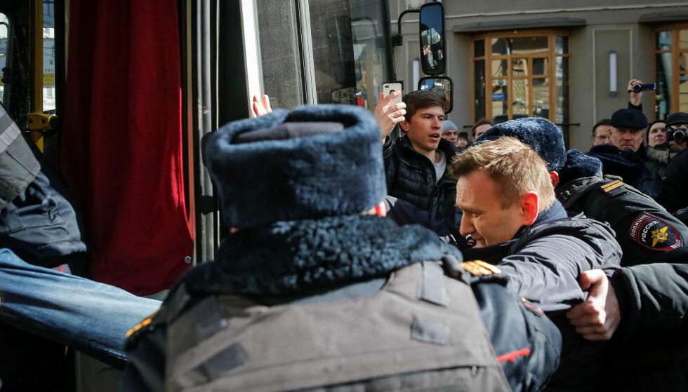 FARLIG MANN: Alexei Navalny ble arrestert i Moskva i dag. Foto: REUTERS/Maxim Shemetov/NTBScanpix