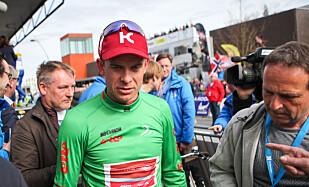 I GRØNT: Kristoff overtok den grønne poengtrøyen etter dagens etappe. FOTO: Kjetil Rakkenes Anda (procycling.no)
