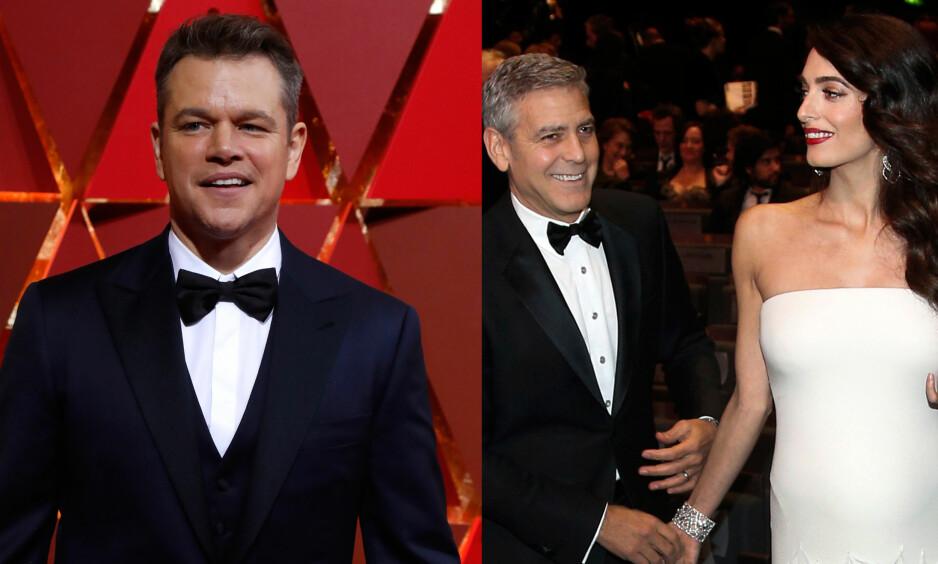 TULLER MED CLOONEY: Matt Damon (46) har hatt det mye moro med skuespillerkompisen George Clooney (55) etter at det ble kjent at han venter tvillinger. Foto: NTB Scanpix