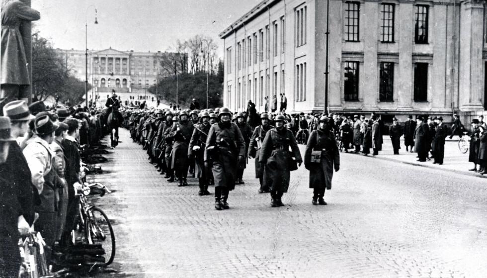 OKKUPASJONEN: Tyske styrker rykker inn i Oslo 9. april 1940. De tyske planene for krafteksport fra Norge trekkes nå inn i debatten om Acer. Foto: Scanpix.