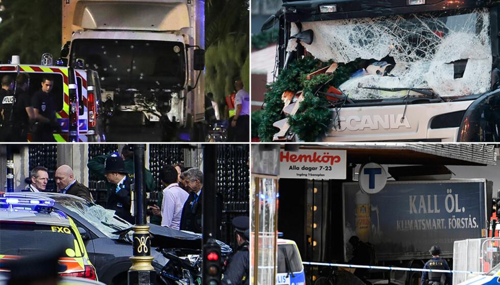 ANGREPENE I EUROPA: Nice, Berlin, London og Stockholm. Fire ganger i løpet av kort tid har terrorister brukt kjøretøy for å drepe sivile i store europeiske byer. Foto: NTB Scanpix