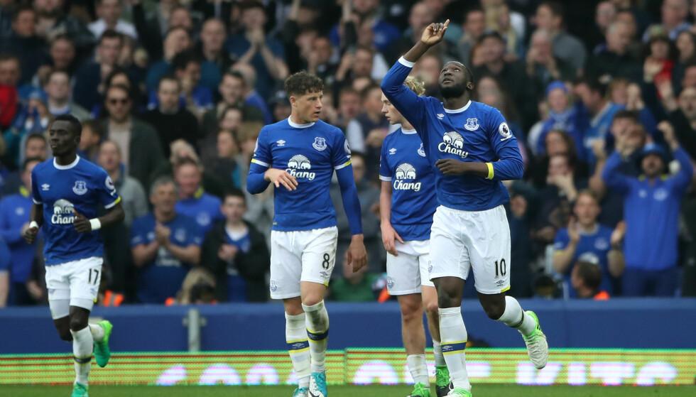HERJET: Evertons Romelu Lukaku avgjorde kampen mot Leicester. Foto: Foto: Nick Potts / PA / AP / NTB scanpix
