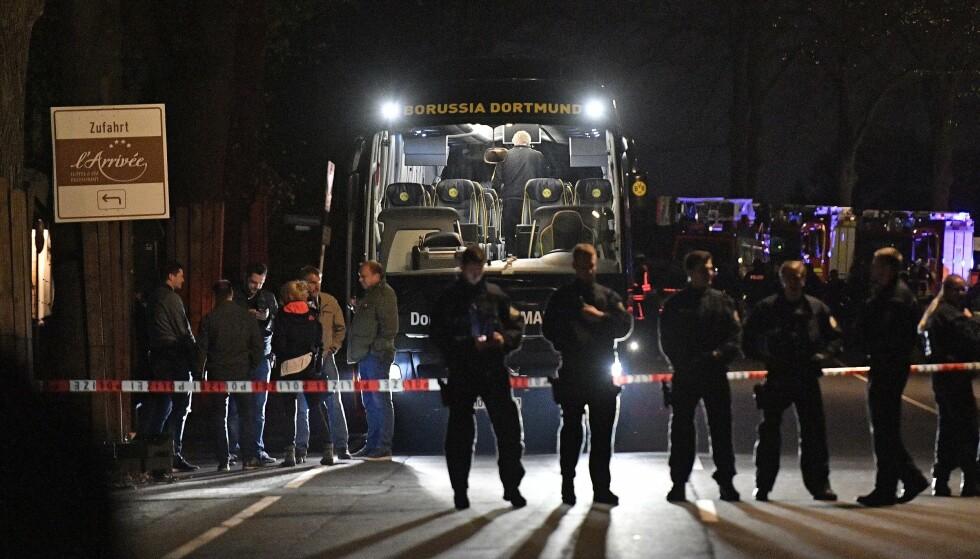 UTSATT: Fotballkampen mellom Dortmund og Monaco er utsatt til i kveld etter et angrep mot spillerbussen. Foto: AP Photo/Martin Meissner