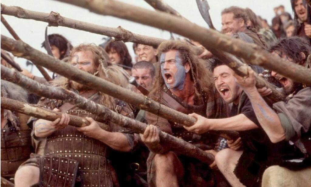 KLASSIKER: Storfilmen «Braveheart» kom i 1995. Mel Gibson hadde regi og spilte hovedrollen som den skotske rebellen William Wallace. Foto: Paramount / 20th Century Fox