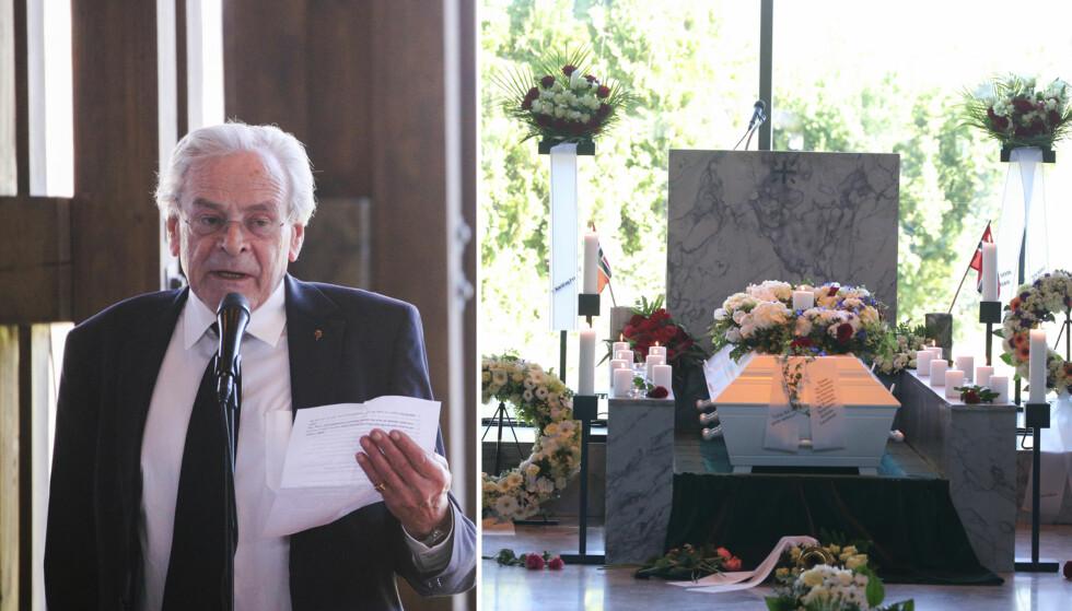TOK ET SISTE FARVEL: Knut Borge ble fredag bisatt i fullsatt sal i Haslum krematorium i Bærum. Torkjell Berulfsen var blant dem som talte i bisettelsen. Foto: Andreas Fadum