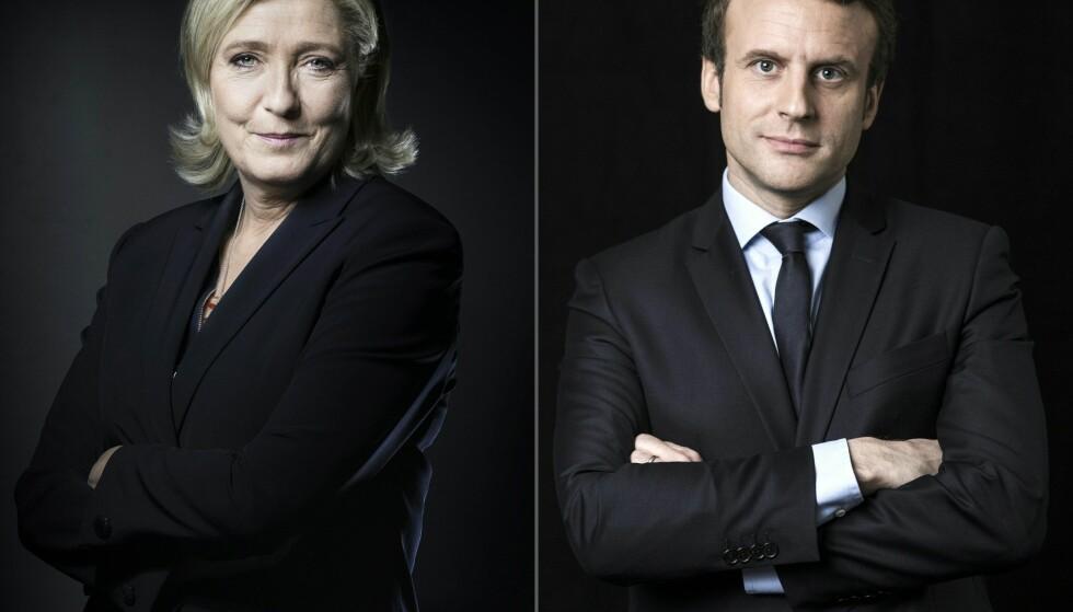 VALGET: Presidentkandidatene Marine Le Pen og Emmanuel Macron har fått flest stemmer i første valgrunde. Foto: AFP PHOTO / JOEL SAGET AND Eric FEFERBERG