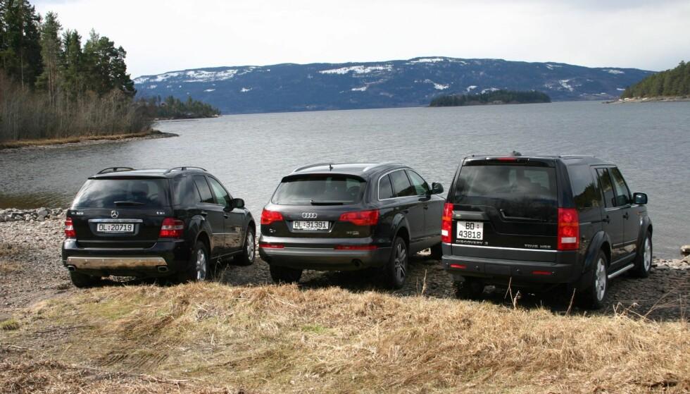 BRUKT SUV:Drømmen kan bli virkelighet – om du er villig til å satse på for eksempel en brukt Mercedes ML, en Audi Q7 eller en Land Rover Discovery. Bildet er fra redaksjonens egen test av tilsvarende biler den gang de var nye. Foto: Knut Usterud-Svendsen / Dinside.no