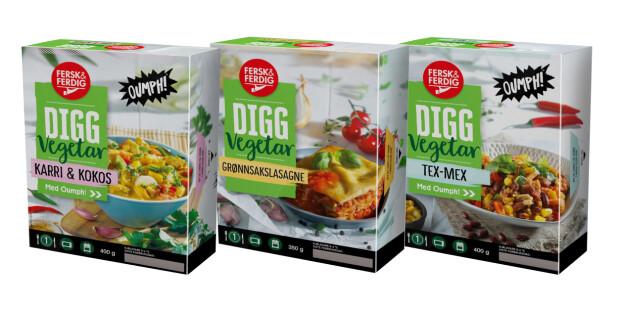 DIGG Vegetar fra Fersk & Ferdig for Kiwi med kjøtterstatninger, de to med Oumph! er veganske, lasagnaen er vegetarisk.
