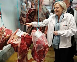KJØTTVEKTA: Marine Le Pen vil ifølge de siste målingene kapre 41 prosent av stemmene, mot Macrons 59. Men mye vil avgjøres av hvor mange velgere som blir sittende hjemme. Foto: AFP PHOTO / CHARLES PLATIAU