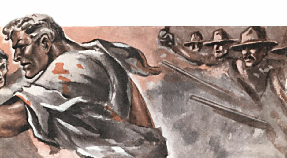 I FULLT FIRSPRANG: Fra omslaget til romanen «Donna Francesca», nummer ti i serien. Det er tegnet av den formidable designeren Harald Damsleth.