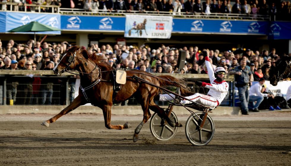 VANT: Norske Lionel kastet seg rundt konkurrentene og vant lørdagens Olympiatrav på Åby Travbane i Sverige. Kusk Gøran Antonsen svevde mellom glede og tunge tanker. Foto: Per Wahlberg / TT / NTB scanpix