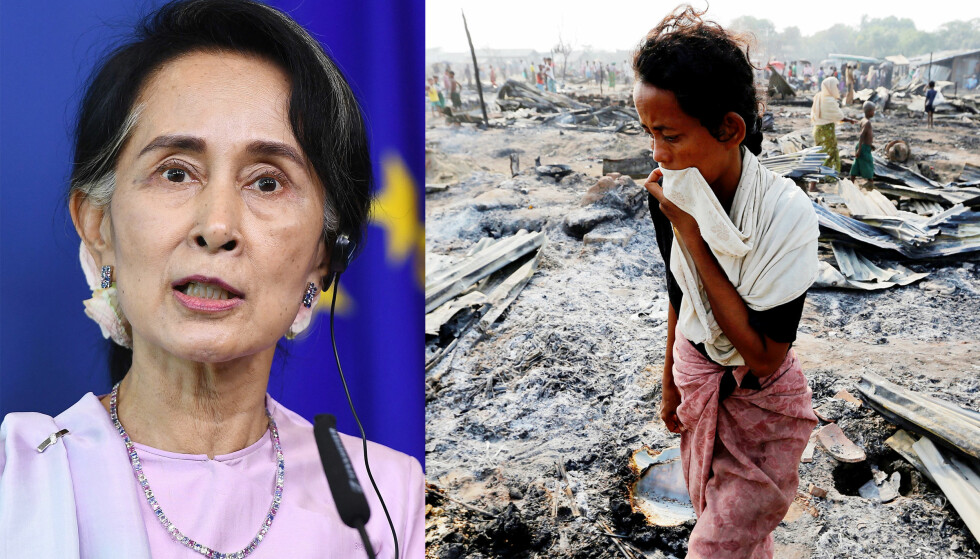LENGE TAUS: Aung San Suu Kyi, Myanmars de facto leder, forholdt seg lenge taus om overgrepene mot rohingyaene vest i landet. Til høyre fra en flyktningleir internt i landet. Foto: Emmanuel Dunand / AFP / NTB Scanpix, Soe Zeya Tun / Reuters / NTB Scanpix