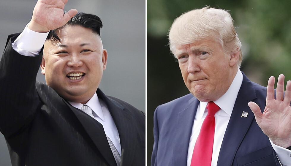 I KONFLIKT: Donald J. Trump og Kim Jong-un. Foto: AP Photo/Wong Maye-E, Pablo Martinez Monsivais/NTB Scanpix