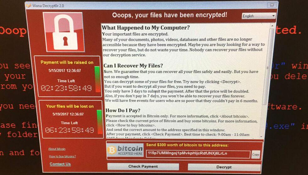 VIRUS: En skjermdump fra en datamaskin ved et britisk sykehus fredag. Foto: @fendifille via AP / NTB scanpix
