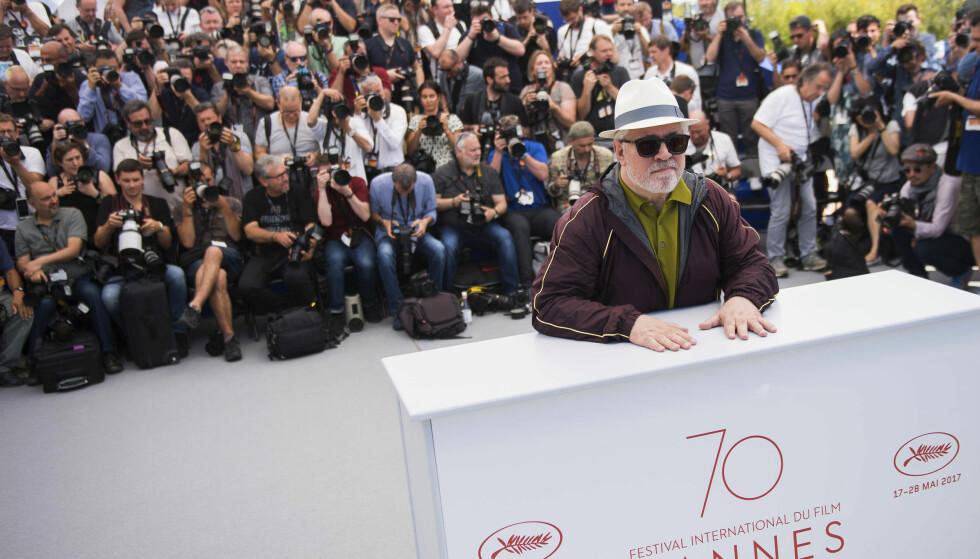 Juryleder, den anerkjente spanske regissøren Pedro Almodóvar, avbildet tirsdag, dagen før åpningen av Cannes-festivalen. Foto: AP / NTB scanpix