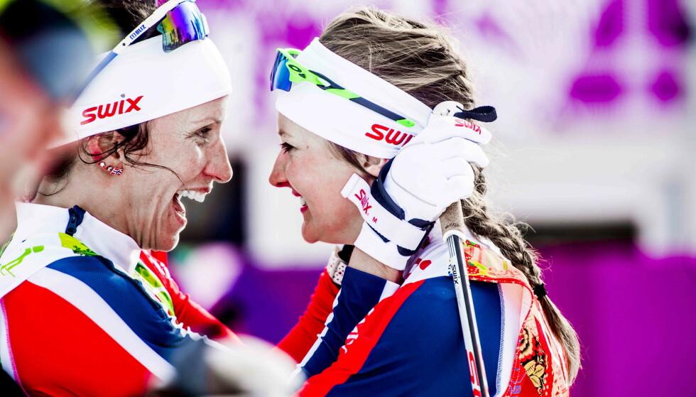 GULLJENTER: Marit Bjørgen og Ingvild Flugstad Østberg tok OL-gull i Sotsji - og nå er Norge beste nasjon i lekene etter Russlands dopingavsløringer. Foto: Thomas Rasmus Skaug / Dagbladet