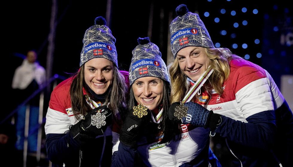 UTFORDRING: Marit Bjørgen, Heidi Weng  og Astrid Uhrenholdt Jacobsen tror OL-sjansene økes om de står over Tour de Ski, men alle utenom én må trolig delta uavhengig om de vil eller ikke. Foto:  Bjørn Langsem / Dagbladet