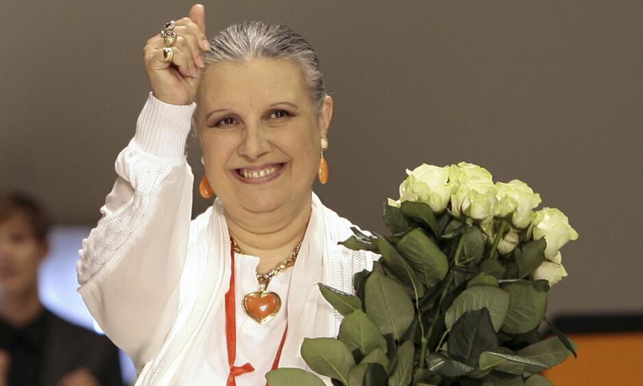 DØD: Den italienske moteskaperen Laura Biagiotti er død, 73 år gammel. Biagiotti var kjent som «dronningen av Kashmir». Foto: NTB Scanpix
