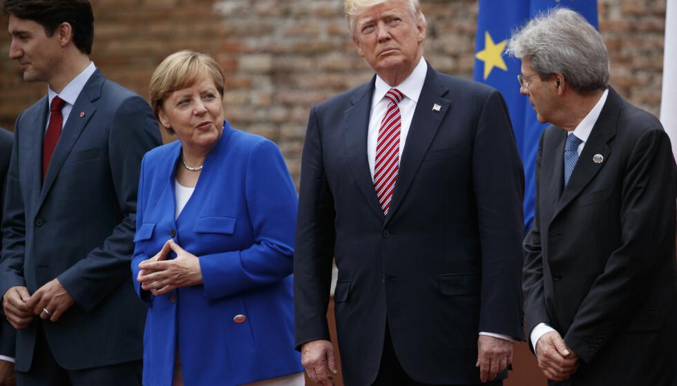 IKKE ENIGE: USAs president, Donald Trump, deltok fredag og lørdag på G7-toppmøte i Italia sammen med blant andre Canadas statsminister, Justin Trudeau, Tysklands forbundskansler, Angela Merkel, og Italias statsminister, Paolo Gentiloni. Foto: AP Photo/Evan Vucci