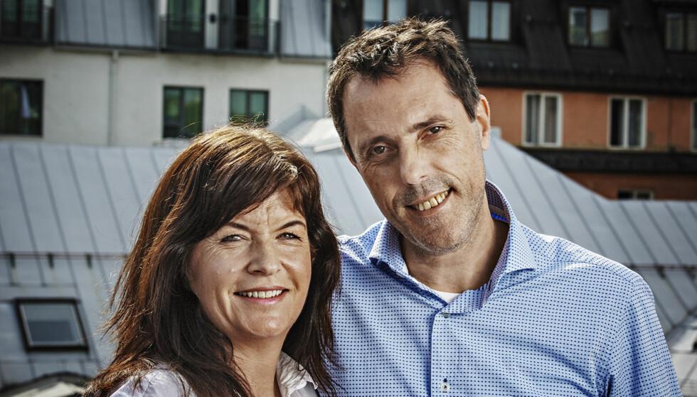 FORFATTERPAR: Forfatterekteparet Agnes Matre og Geir Tangen har skrevet hver sin bok, men samarbeider om det meste. Foto: JØRN H. MOEN