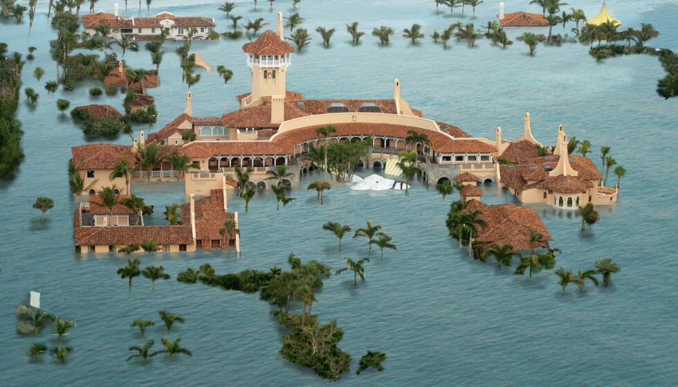 «DOMMEDAGSSCENARIO»: Climate Central, en uavhengig forskerorganisasjon, har laget denne illustrasjonen av hva et såkalt «dommedagsscenario» for global oppvarming vil bety for Donald Trumps luksussted Mar-a-Lago i Florida. Ill: Climate Central.