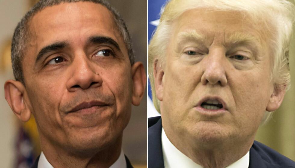 SVÆRT ULIKT SYN: USAs hhv. 44. og 45. president, Barack Obama og Donald Trump, har svært ulikt syn på Parisavtalen. Mens Obama ser på avtalen som et redskap til å redde jorda, samtidig som den bringer med seg stor verdiskapning, mener Trump at USA pådrar seg store ulemper ved å bli stående, målt i bl.a. arbeidsplasser i industrien. Foto: Nicholas Kamm, Atef Safadi / AFP / NTB Scanpix