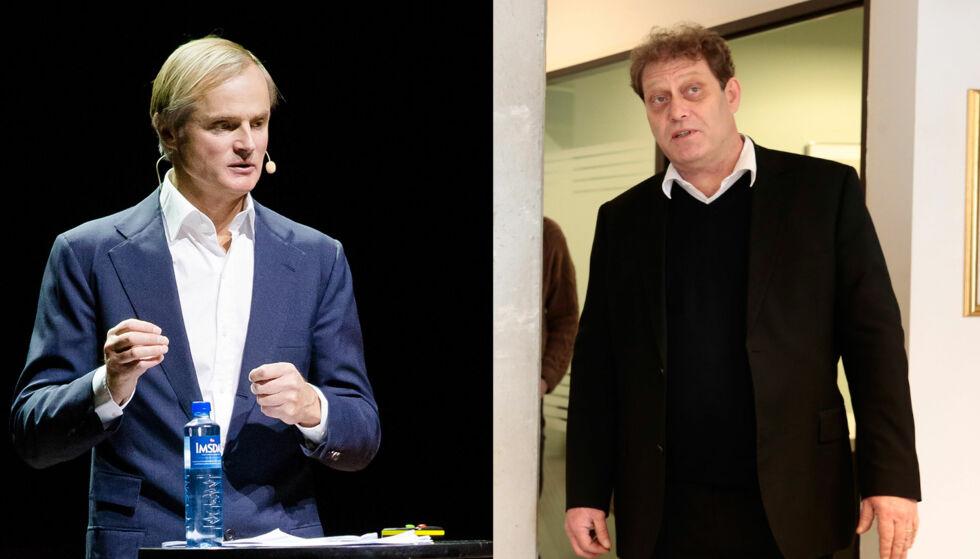 I KLINSJ: Investormilliardær Øystein Stray Spetalen og Bellona-leder Frederic Hauge strider om Paris-avtalen. Hauge omtaler Spetalen som en grisk forretningsmann. Foto: NTB scanpix