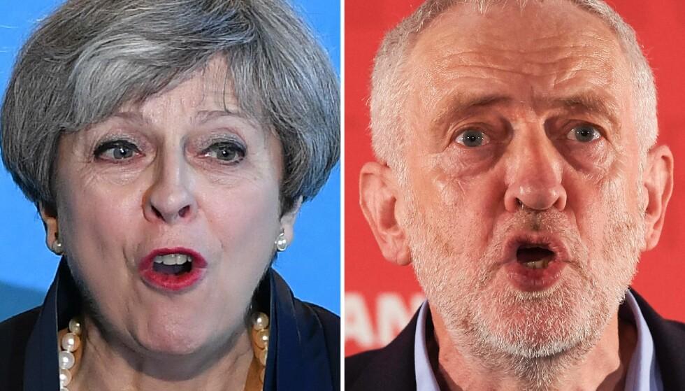 HVER SIN KANT: De to dominerende partiene i Storbritannia er blitt enda mer dominerende, samtidig som de har beveget seg mot hver sin ytterkant. Foto: AFP PHOTO / Ben STANSALL AND Niklas HALLE'N