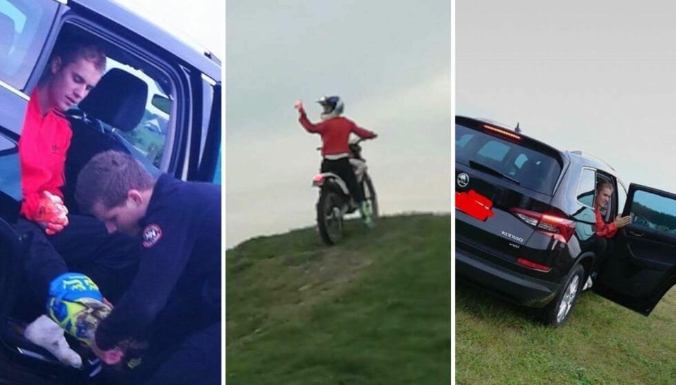 KJØRTE MOTOCROSS I STAVANGER: Justin Bieber bestemte seg for å kjøre motorcross før dagens konsert i Stavanger. Foto: Privat
