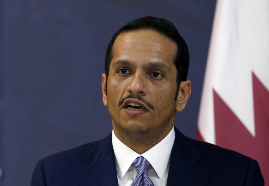 VIL IKKE HA INNBLANDING: Qatars utenriksminister Mohammed bin Abdulrahman Al-Thani motsetter seg innblanding i landets utenrikspolitikk på tross av Golf-krisen. Foto: AP Photo / Darko Vojinovic / NTB scanpix