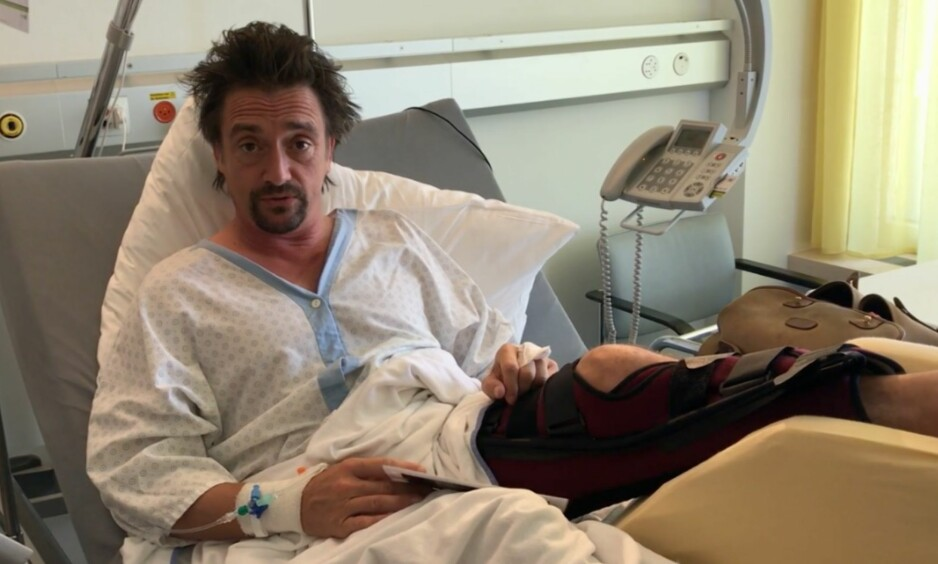 STÅR BRA TIL: Richard Hammond delte en video fra sykesenga i Sveits dagen etter bilulykken. Foto: Skjermdump