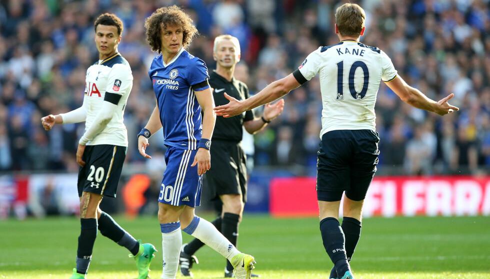 MØTES TIDLIG: David Luiz og Chelsea møter Tottenham og Harry Kane allerede i andre serierunde. Fotot: David Klein/Sportimage via PA Images