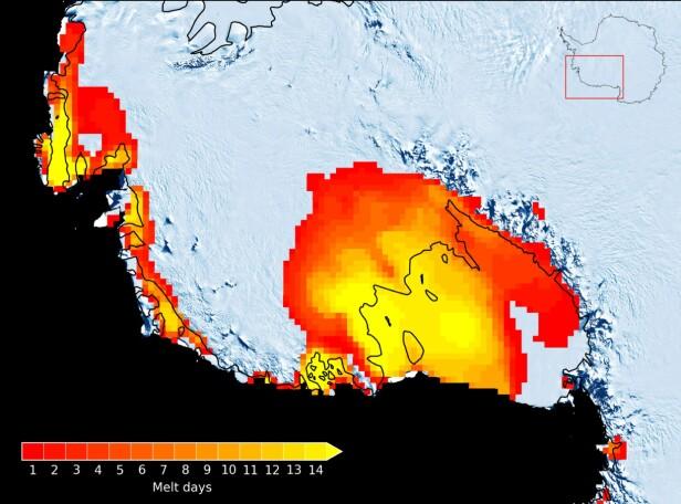 SMELTET: Kartet viser antallet dager med overflatesmelting i Vest-Antarktis i januar 2016. Illustrasjon: Ohio State University