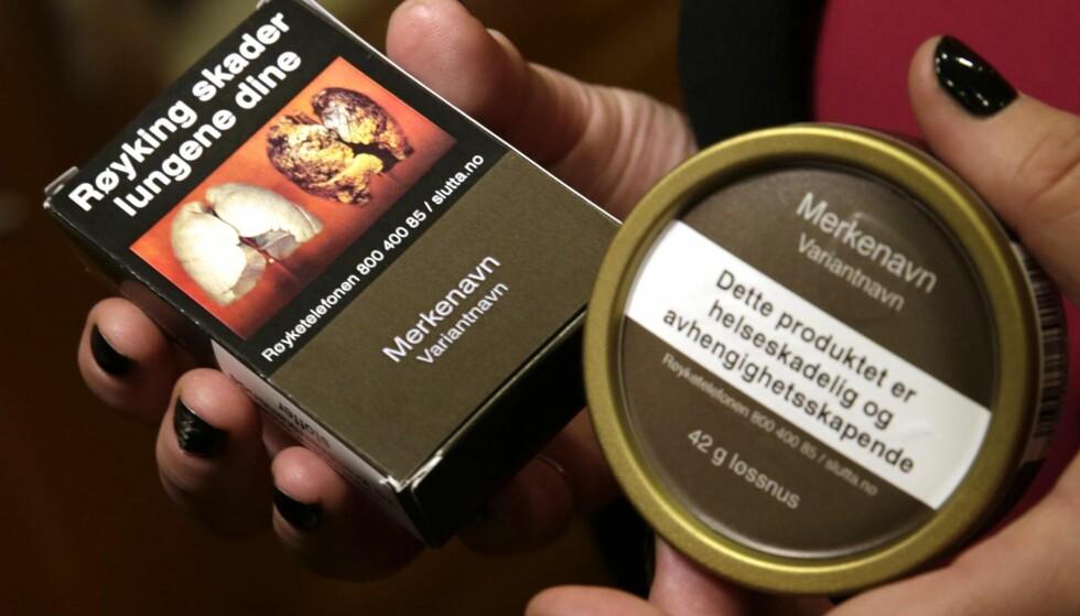 NYE TOBAKKSPAKKER: Her er de nye innpakningene til snus og tobakkspakker.