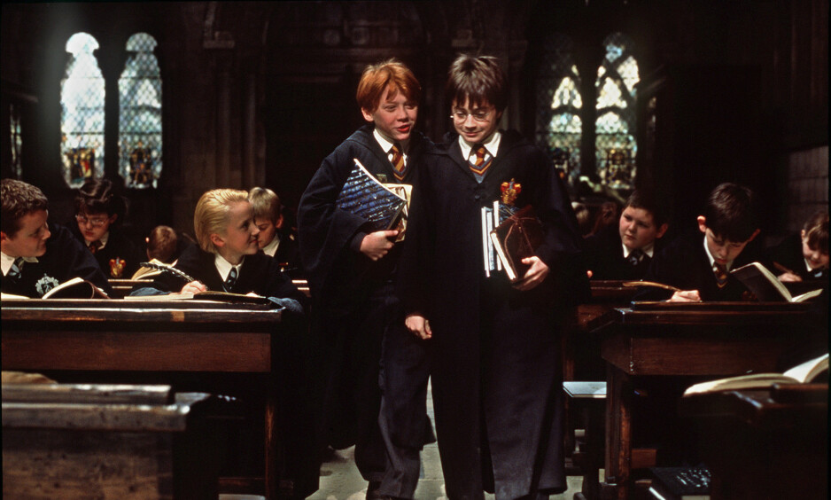 HARRY POTTER: I filmene spilles Harry Potter av Daniel Radcliffe (t.h.), og Ronny Wiltersen spilles av Rupert Grint. Foto: AP