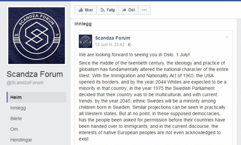 MINORITET I EGNE LAND: På facebooksiden til Scandza Forum blir hvite sagt å være på vei til å bli en minoritet i mange vestlige land.