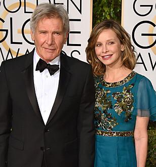 KJENDISPAR: Calista Flockhart og Harrison Ford var sammen i åtte år før de giftet seg for sju år siden. Foto: NTB scanpix