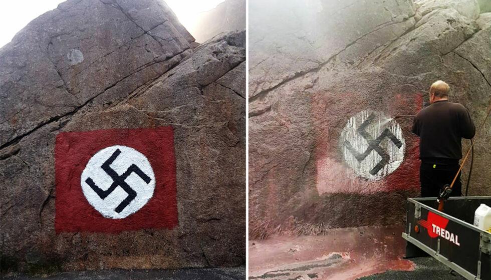 HAKEKORS: Dette hakekorset ble malt på en steinvegg i Gloppedalsura i Rogaland, trolig i løpet av natta. Bildet til høyre viser hvordan det ble fjernet, bare minutter etter at det ble oppdaget. Alle foto: Kurt Erik Sele