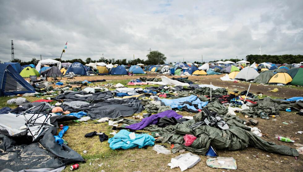 LEGGES IGJEN: - Vår totale avfallsmengde er mellom 2000 og 2500 tonn. 80 prosent stammer fra campingområdet, sier presseansvarlig i Roskildefestivalen Christina Bilde til Dagbladet. Foto: NTB Scanpix