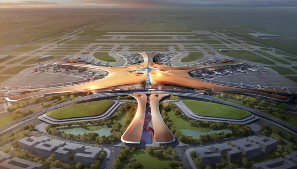 TRAFIKKMASKIN: Slik skal verdens største flyplass se ut når den åpner i 2019. Beijings nye hovedflyplass skal kunne betjene 100 millioner passasjerer i året. Illustrasjon: Zaha Hadid Architects