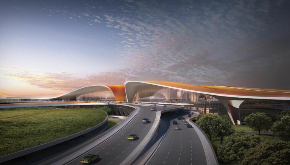 MYKE LINJER: Arkitektene ønsker å skape assosiasjoner til det typiske kinesiske landskapet med sine myke flytende former. Illustrasjon: Zaha Hadid Architects