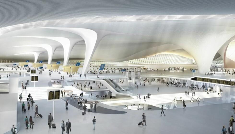 ENORMT: Terminalbygget er ikke bare stort, det skal også være luftig og enkelt å manøvrere i. Illustrasjon: Zaha Hadid Architects