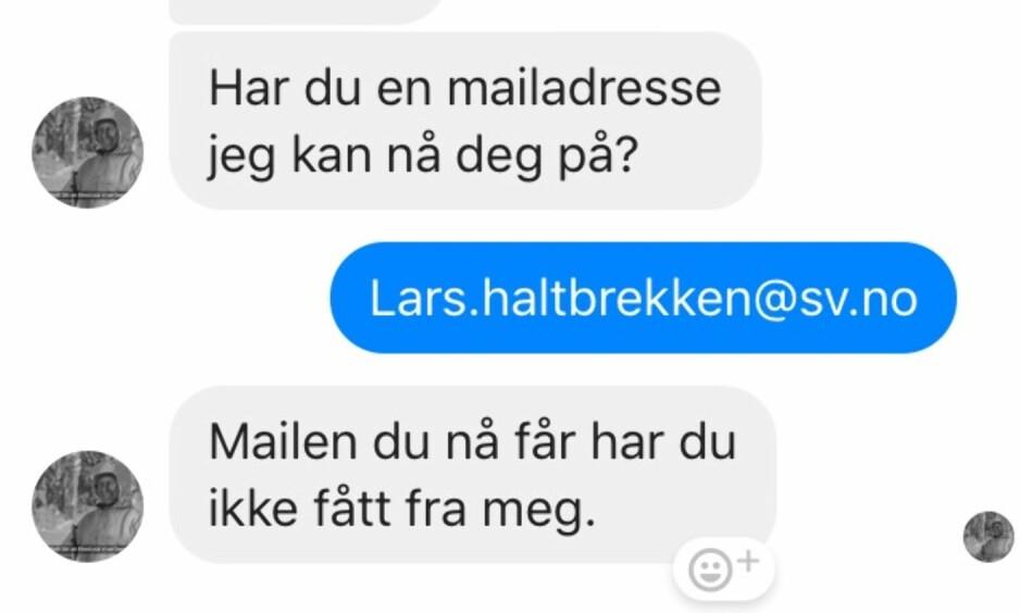 HEMMELIG: Her er samtalen mellom stortingskandidat Lars Haltbrekken og lakselobbyist Frode Reppe. Reppe vil at avsender for budskapet han vil nå fram til Naturvernforbudet med, skal være hemmelig. Foto: Skjermdump