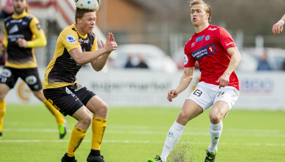TIL MOLDE: Martin Ellingsen (til høyre) - her i aksjon for Kongsvinger i 1. divisjon. Foto: Vegard Wivestad Grøtt / NTB scanpix