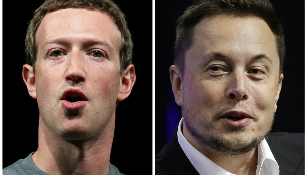 STANSER SAMARBEID: Elon Musk (t.h.) i Tesla er blant selskapene som stanser samarbeidet med Facebook og toppsjef Mark Zuckerberg etter Cambridge Analytica-skandalen. Foto: AP Photo/Manu Fernandez, Stephan Savoia