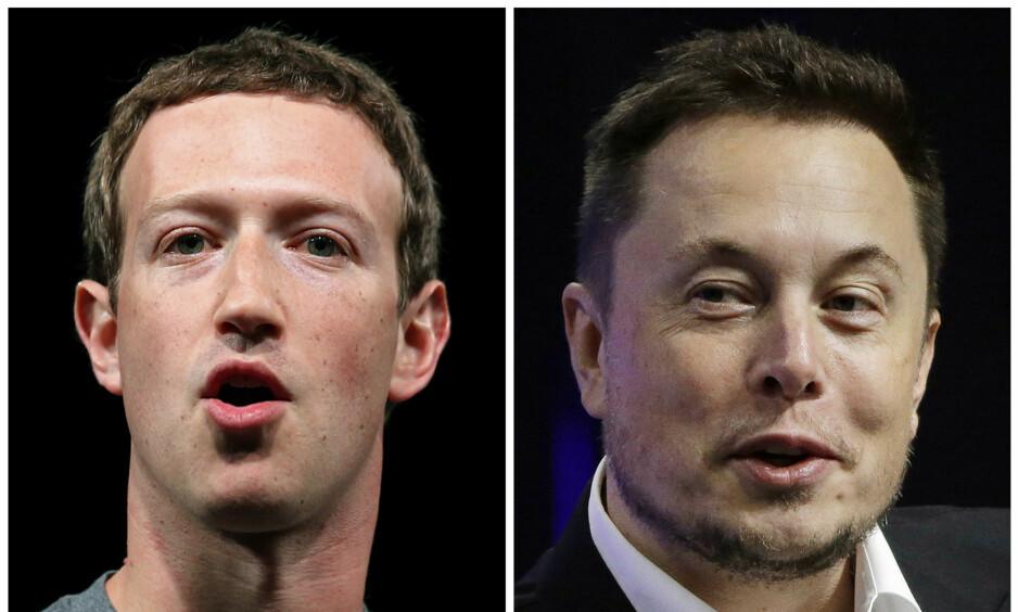UENIGE: Mark Zuckerberg og Elon Musk. Foto: AP Photo/Manu Fernandez, Stephan Savoia)