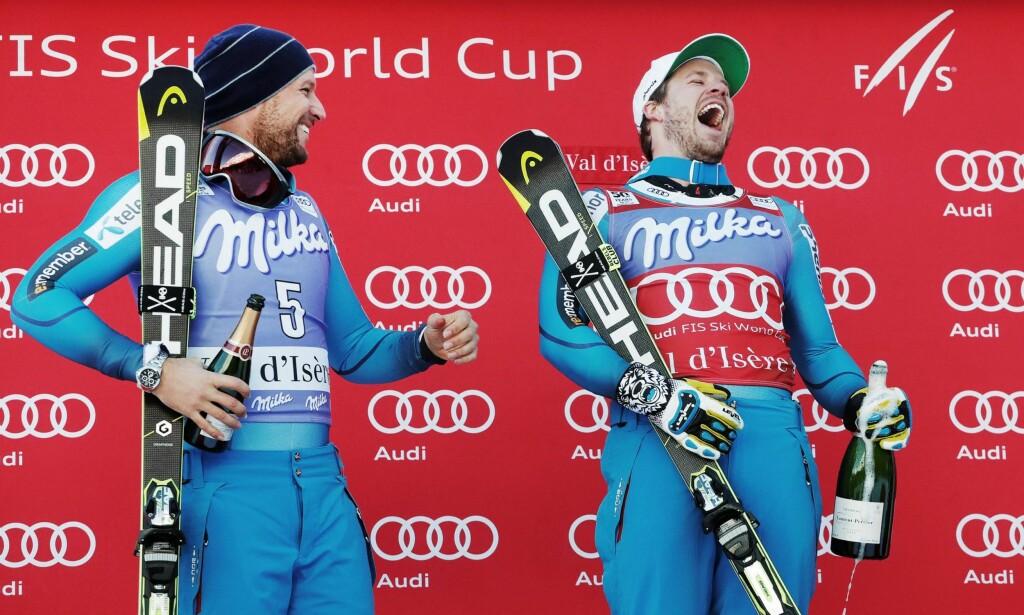 NORSK SUKSESS: Aksel Lund Svindal og Kjetil Jansrud har tilsammen 51 verdenscupseire. De store alpinnasjonene rister på hodet over den norske suksessen. Foto: NTB Scanpix