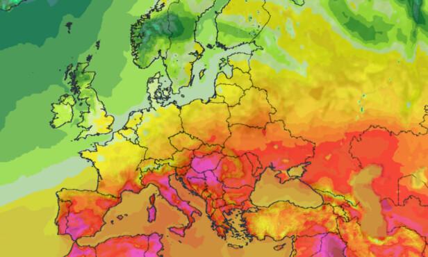 <strong>Ekstrem varme:</strong> Store deler Europa blir rammet av ekstreme temperaturer på over 40 grader de nærmeste dagene. Kart: Meteoblue