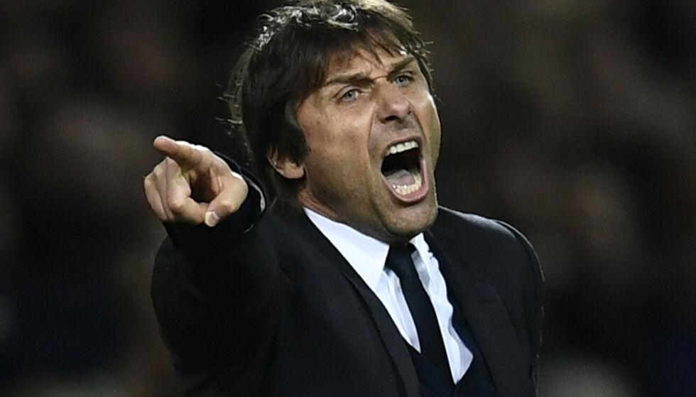SINT: Chelsea-manager Antonio Conte ble sendt på tribunen under kampen mot Swansea onsdag. Foto: Reuters / Dylan Martinez Livepic
