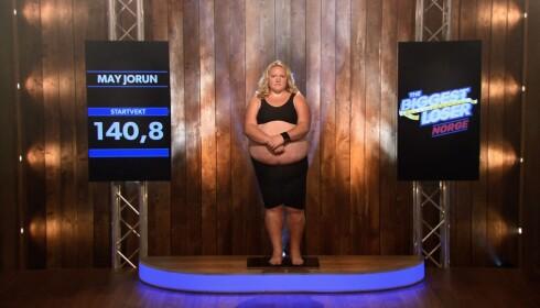 FØR: May Jorun ved TVseriens start. Et halvt år etter hadde hun gått ned nesten 60 kilo. Foto: TVNorge